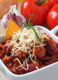 Chili Con Carne. Freshly cooked chilli con carne, topped with cheese Stock Photography