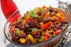 Chili con carne. With kidney beans and paprika Royalty Free Stock Images