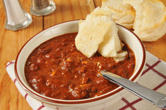 Chili con carne with biscuits Stock Photo