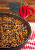 Chili con carne with black beans and red peppers Royalty Free Stock Images