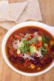 Chili con carne bowl. Closeup Stock Image