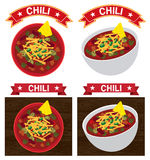 Chili con carne bowl illustration Royalty Free Stock Photography