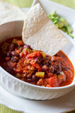 Chili con carne. Bowl of chili con carne (with meat royalty free stock image