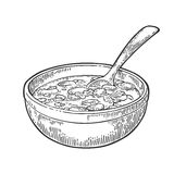 Chili con carne in bowl with spoon - mexican traditional food. Royalty Free Stock Photo
