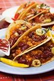 Chili con carne burrito in taco shell Stock Photos