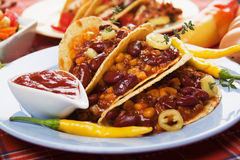 Chili con carne burrito in taco shell Stock Images