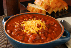 Chili con carne with cheese Stock Photography