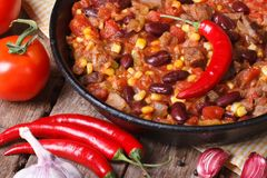Chili con carne close-up in a pan with the ingredients. Royalty Free Stock Photo