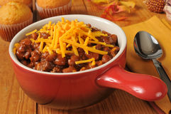 Chili con carne with cornbread muffins Stock Photos