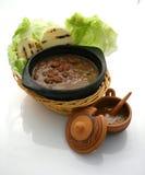 Chili con carne e salsa calda Fotografia Stock