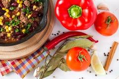 Chili con carne et ingrédients Photographie stock libre de droits