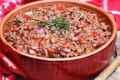 Chili Con Carne i kruka royaltyfri bild