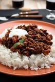 Chili con carne i ryż Zdjęcie Royalty Free