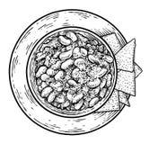 Chili con carne-illustratie, tekening, gravure, inkt, lijnkunst, vector royalty-vrije illustratie