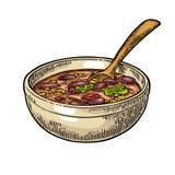 Chili con carne in kom met lepel - Mexicaans traditioneel voedsel stock illustratie