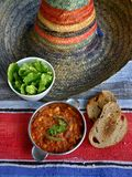 Chili con carne. With lettuce and colorful sombrero Stock Photos
