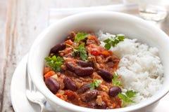 Chili con carne met Rijst stock fotografie
