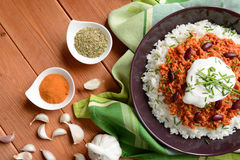 Chili con carne. Mexican food chili con carne on a wooden background Royalty Free Stock Photo