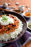 Chili con carne. Mexican food chili con carne on a wooden background stock photos