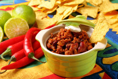 Chili con carne and nachos Stock Photography