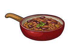 Chili con carne in pan - Mexicaans traditioneel voedsel Vectorgravure royalty-vrije illustratie