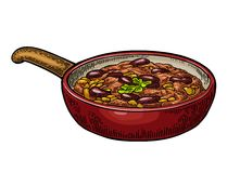 Chili con carne in pan - mexican traditional food. Vector engraving Stock Images