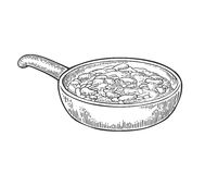 Chili con carne in pan - mexican traditional food. Vector engraving Stock Image