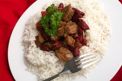 Chili con carne and rice from above Stock Photos