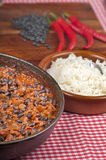 Chili con carne with rice, beans and  peppers Royalty Free Stock Photo