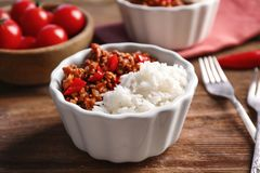 Chili Con Carne with rice in bowl Stock Photos
