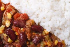 Chili con carne and rice macro horizontal top view details Royalty Free Stock Photography