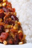 Chili con carne and rice macro vertical top view Royalty Free Stock Image