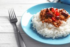Chili Con Carne with rice Stock Photo