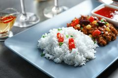 Chili Con Carne with rice on plate, Royalty Free Stock Images