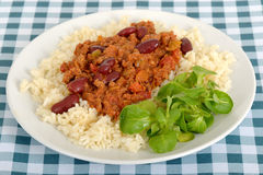 Chili Con Carne with Rice on a plate Royalty Free Stock Photos