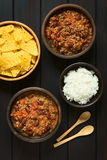 Chili Con Carne with Rice and Tortilla Chips Stock Photos