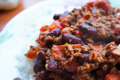 Chili con carne and rice Royalty Free Stock Photo