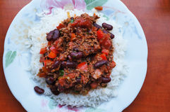 Chili con carne and rice Stock Photography
