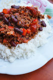 Chili con carne and rice Stock Image