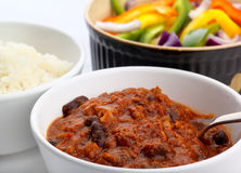 Chili Con Carne with salad Royalty Free Stock Photo