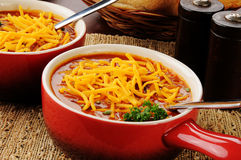 Chili con carne topped with cheese Royalty Free Stock Photo