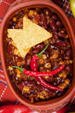 Chili con carne with tortilla chips Stock Images