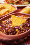 Chili con carne with tortilla chips Stock Photos