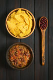 Chili con Carne with Tortilla Chips Royalty Free Stock Image