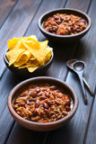 Chili Con Carne with Tortilla Chips Royalty Free Stock Images