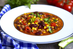 Chili con carne - traditional dish of mexican cuisine. Royalty Free Stock Photo