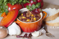Chili con carne. Traditional mexican dish Stock Image