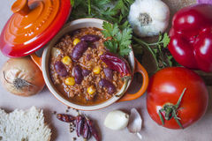 Chili con carne. Traditional mexican dish Stock Photos