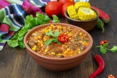 Chili con carne Traditionele Mexicaanse schotel Royalty-vrije Stock Afbeeldingen