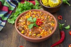 Chili con carne Traditionele Mexicaanse schotel Royalty-vrije Stock Fotografie